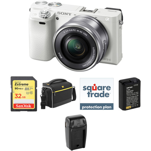 Sony Alpha a6000 Mirrorless Digital Camera with 16-50mm Lens Deluxe Kit (White)
