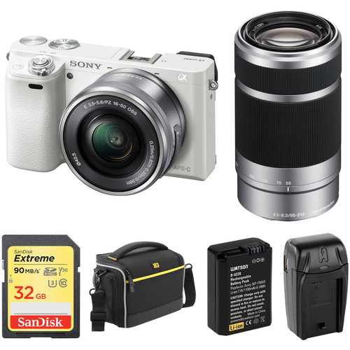Sony Alpha a6000 Mirrorless Digital Camera with 16-50mm and 55-210mm Lenses and Free Accessory Kit (White)