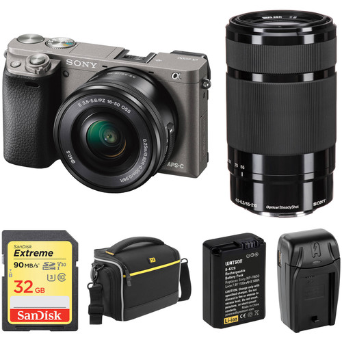 Sony Alpha a6000 Mirrorless Digital Camera with 16-50mm and 55-210mm Lenses and Free Accessory Kit (Graphite)
