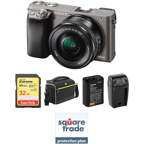 Sony Alpha a6000 Mirrorless Digital Camera with 16-50mm Lens Deluxe Kit (Graphite)