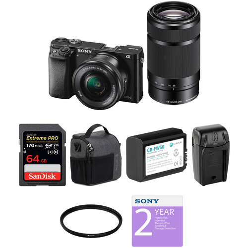 Sony Alpha a6000 Mirrorless Digital Camera with 16-50mm and 55-210mm Lenses Deluxe Kit (Black)
