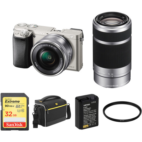 Sony Alpha a6000 Mirrorless Digital Camera with 16-50mm and 55-210mm Lenses and Accessory Kit (Silver)