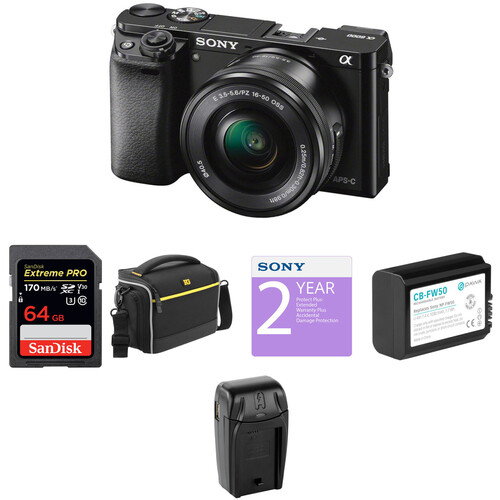 Sony Alpha a6000 Mirrorless Digital Camera with 16-50mm Lens Deluxe Kit (Black)