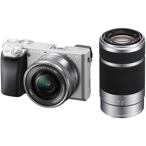 Sony Alpha a6300 Mirrorless Digital Camera with 16-50mm and 55-210mm Lenses Kit (Silver)