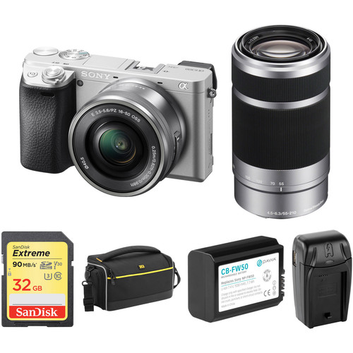 Sony Alpha a6300 Mirrorless Digital Camera with 16-50mm and 55-210mm Lenses and Accessory Kit (Silver)