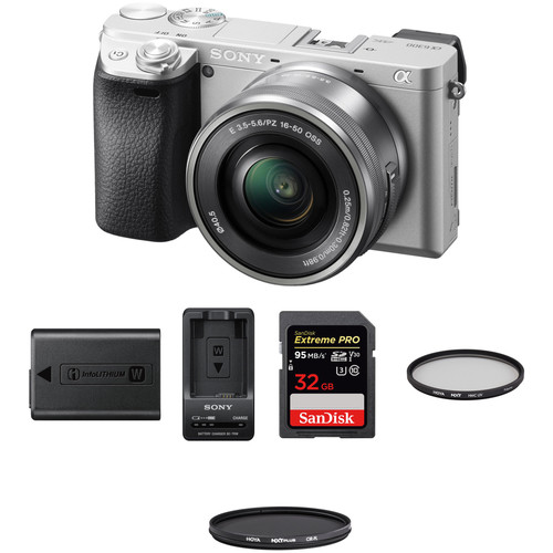Sony Alpha a6300 Mirrorless Digital Camera with 16-50mm Lens Premium Kit (Silver)