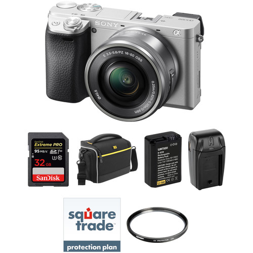 Sony Alpha a6300 Mirrorless Digital Camera with 16-50mm Lens Deluxe Kit (Silver)