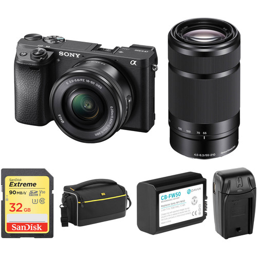 Sony Alpha a6300 Mirrorless Digital Camera with 16-50mm and 55-210mm Lenses and Accessory Kit (Black)