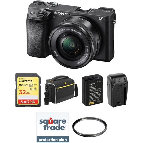 Sony Alpha a6300 Mirrorless Digital Camera with 16-50mm Lens Deluxe Kit (Black)