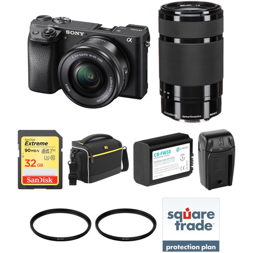 Sony Alpha a6300 Mirrorless Digital Camera with 16-50mm and 55-210mm Lenses Deluxe Kit
