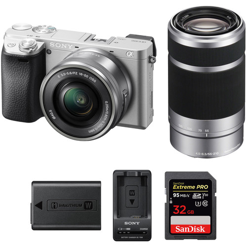 Sony Alpha a6300 Mirrorless Digital Camera with 16-50mm and 55-210mm Lenses Premium Kit (Silver)