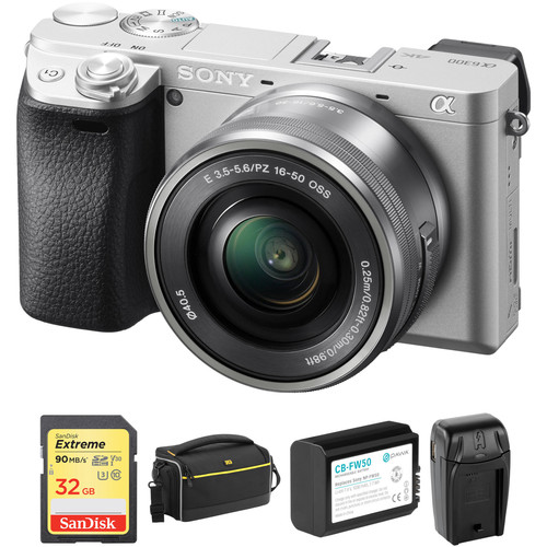 Sony Alpha a6300 Mirrorless Digital Camera with 16-50mm Lens and Accessory Kit (Silver)
