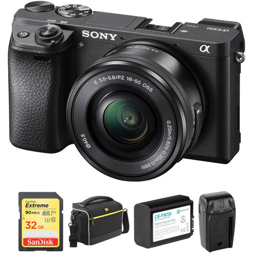 Sony Alpha a6300 Mirrorless Digital Camera with 16-50mm Lens and Accessory Kit (Black)