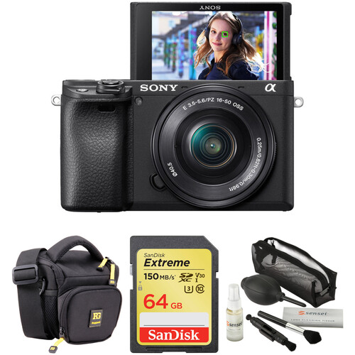 Sony Alpha a6400 Mirrorless Digital Camera with 16-50mm Lens and Accessories Kit