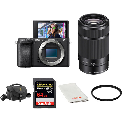 Sony Alpha a6400 Mirrorless Digital Camera with 55-210mm Lens and Accessories Kit