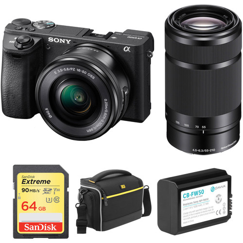 Sony Alpha a6500 Mirrorless Digital Camera with 16-50mm and 55-210mm Lenses and Free Accessory Kit