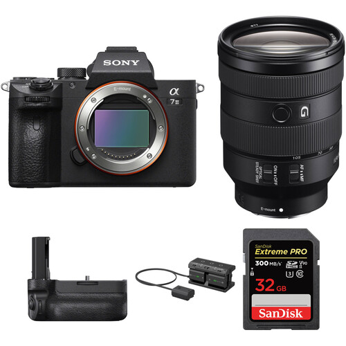 Sony Alpha a7 III Mirrorless Digital Camera with 24-105mm Lens and Vertical Grip Kit
