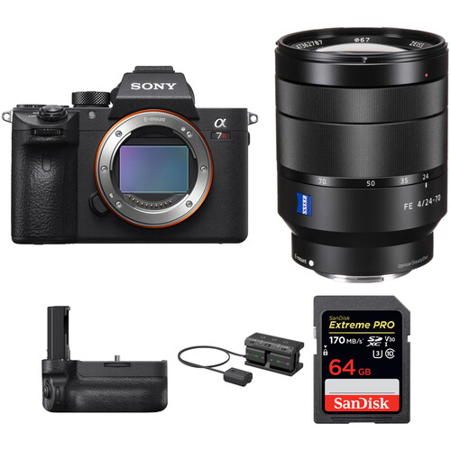 Sony Alpha a7R III Mirrorless Digital Camera with 24-70mm f/4 Lens and Vertical Grip Kit