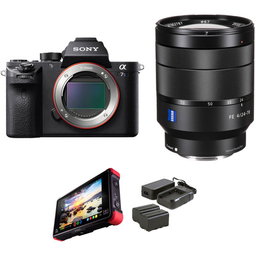 Sony Alpha a7S II Mirrorless Digital Camera with 24-70mm f/4 Lens and External Monitor Kit