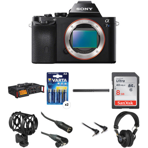Sony Alpha a7S Mirrorless Digital Camera with Portable Recorder and Microphone Audio Solutions Kit