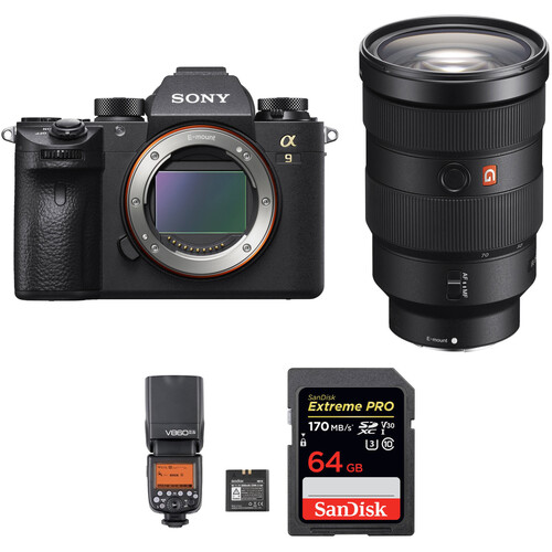 Sony Alpha a9 Mirrorless Digital Camera with 24-70mm f/2.8 Lens and Flash Kit
