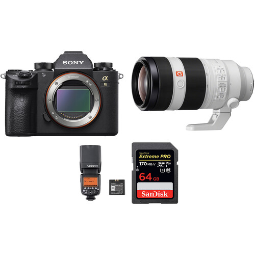 Sony Alpha a9 Mirrorless Digital Camera with 100-400mm Lens and Flash Kit