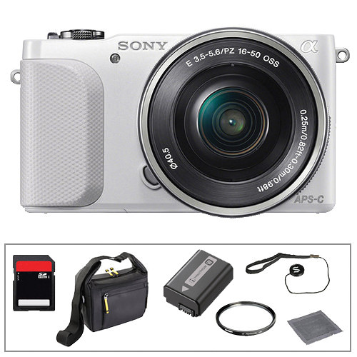 Sony Alpha NEX-3N Mirrorless Digital Camera with 16-50mm Lens Basic Accessory Kit (White)