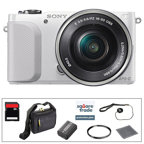 Sony Alpha NEX-3N Mirrorless Digital Camera with 16-50mm Lens Essential Accessory Kit (White)