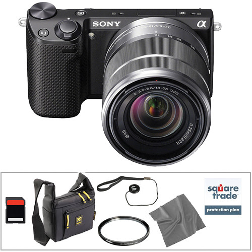 Sony Alpha NEX-5R Mirrorless Digital Camera with 18-55mm Zoom Lens Essential Accessory Kit (Black)