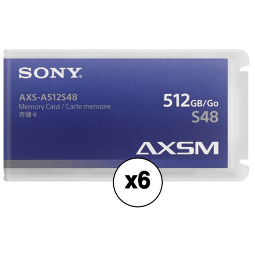 Sony AXSM A Series 4.8 GB/s Memory Card for AXS-R5  R7 Camera Recorders 512GB (6-Pack)