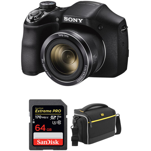 Sony DSC-H300 Digital Camera with Free Accessory Kit (Black)