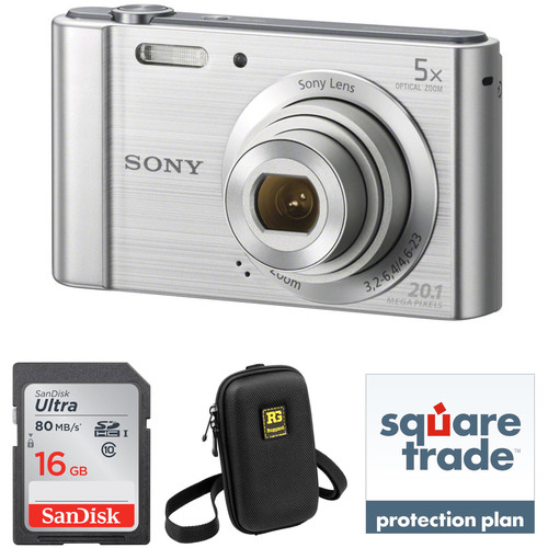 Sony Cyber-shot DSC-W800 Digital Camera Deluxe Kit (Silver)