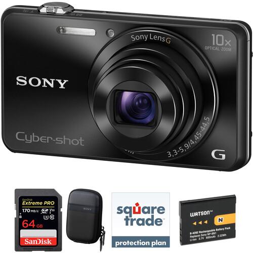 Sony Cyber-shot DSC-WX220 Digital Camera Deluxe Kit (Black)