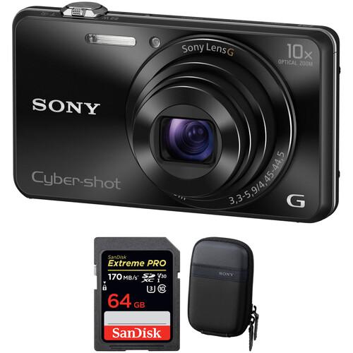 Sony Cyber-shot DSC-WX220 Digital Camera with Free Accessory Kit (Black)