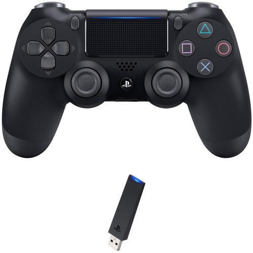 Sony DualShock 4 Wireless Controller with USB Wireless Adapter Kit (Jet Black, 2016 Version)