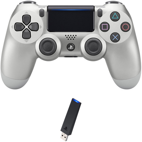 Sony DualShock 4 Wireless Controller with USB Wireless Adapter Kit (Silver, 2016 Version)