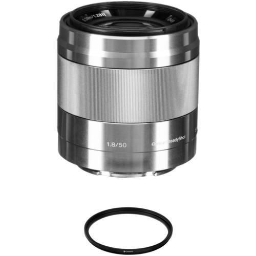 Sony E 50mm f/1.8 OSS Lens with UV Filter Kit (Silver)