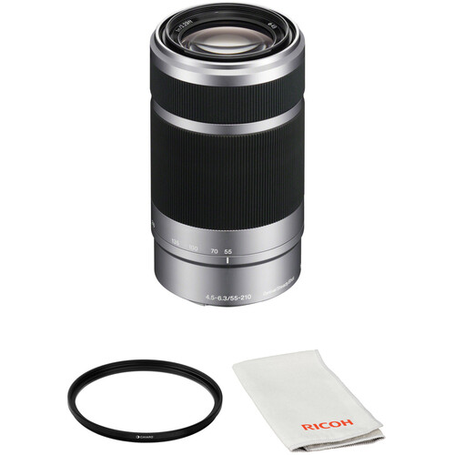 Sony E 55-210mm f/4.5-6.3 OSS Lens with Circular Polarizer Filter Kit (Silver)