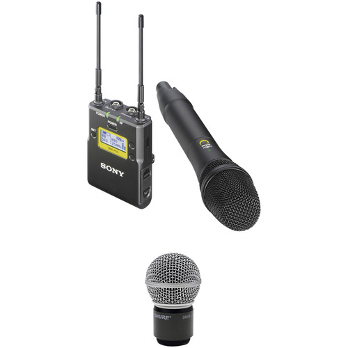 Sony UWP-D12 Integrated Digital Wireless Handheld Microphone ENG System with Shure SM58 Cartridge Kit (UHF Channels 42/51: 638 to 698 MHz)