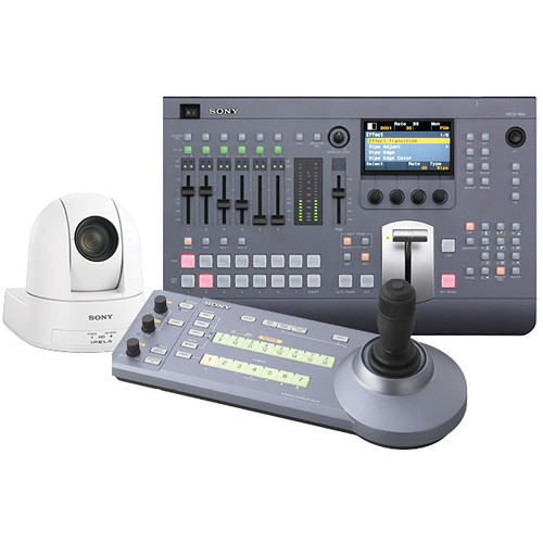 Sony MCS8M Bundle with Switcher, Controller, and PTZ Camera (White)