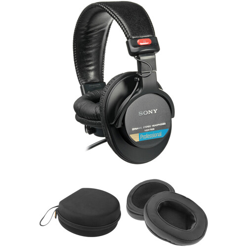 Sony MDR-7506 Headphones With Deep Earpads & Carrying Case Kit