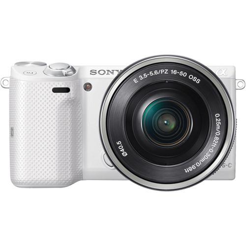 Sony Alpha NEX-5T Mirrorless Digital Camera with 16-50mm Lens (White/Silver)