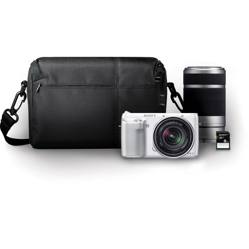 Sony Alpha NEX-F3 Mirrorless Digital Camera with 18-55mm f/3.5-5.6 and 55-210mm f/4.5-6.3 Lenses Bundle (White)