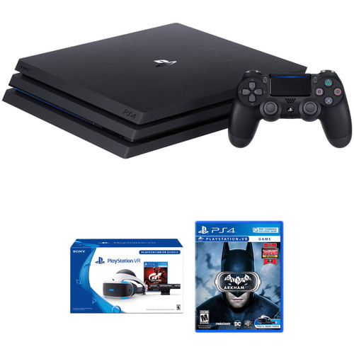 Sony PlayStation 4 Pro Gaming Console Kit with PlayStation VR Gran Turismo Sport Bundle & Batman: Arkham VR