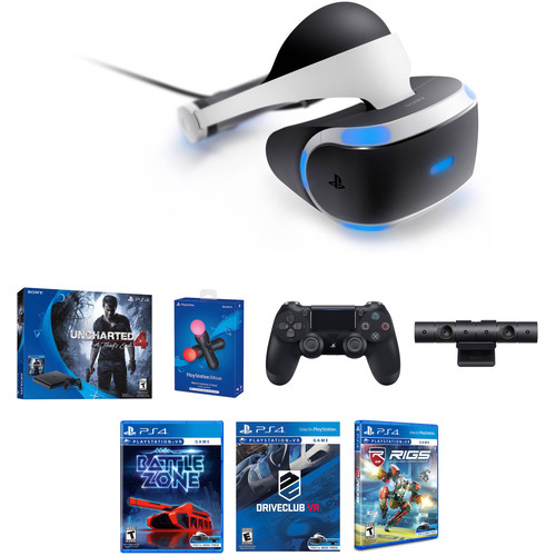 Sony PlayStation VR Bundle with PlayStation 4 Slim Uncharted 4 Bundle & Extra Accessories