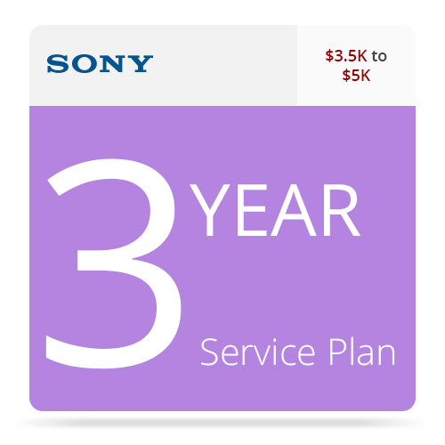 Sony 3-Year Service Plan for Professional Camcorders ($3.5 - $5K)