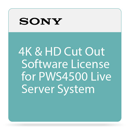 Sony 4K & HD Cut Out Software License for PWS4500 Live Server System
