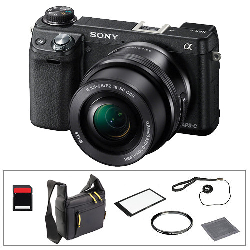 Sony Sony Alpha NEX- 6 Digital Camera and 16-50mm Lens Kit with Basic Accessories (Black)