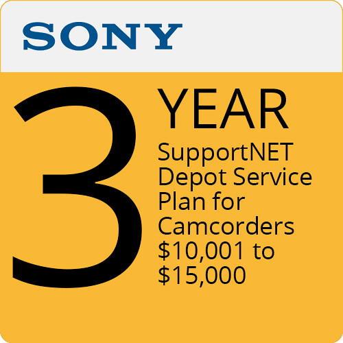 Sony 3-Year SupportNET Depot Service Plan for Cameras 10,001 to $15,000