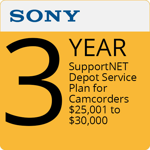 Sony 3-Year SupportNET Depot Service Plan for Camcorders 25,001 to $30,000